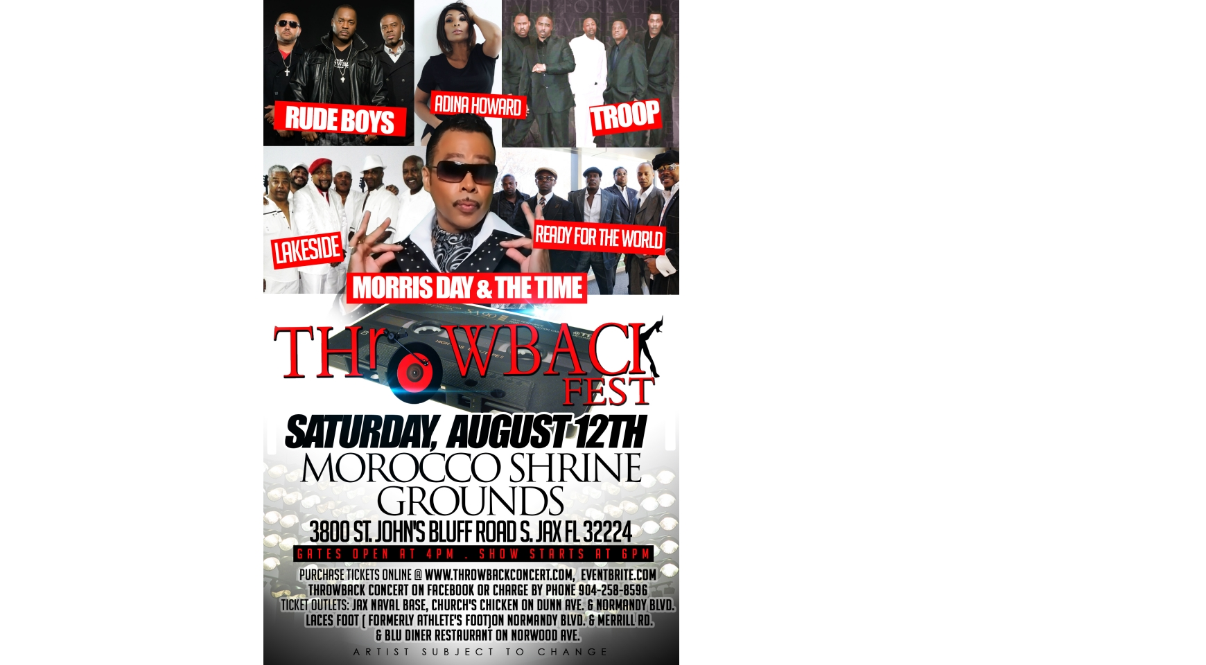 THROWBACK FEST - ft. MORRIS DAY & THE TIME & MANY MORE( JACKSONVILLE, FLORIDA) Buy Tickets Online | Jacksonville , Sat , 2017-08-12 | ThisisShow