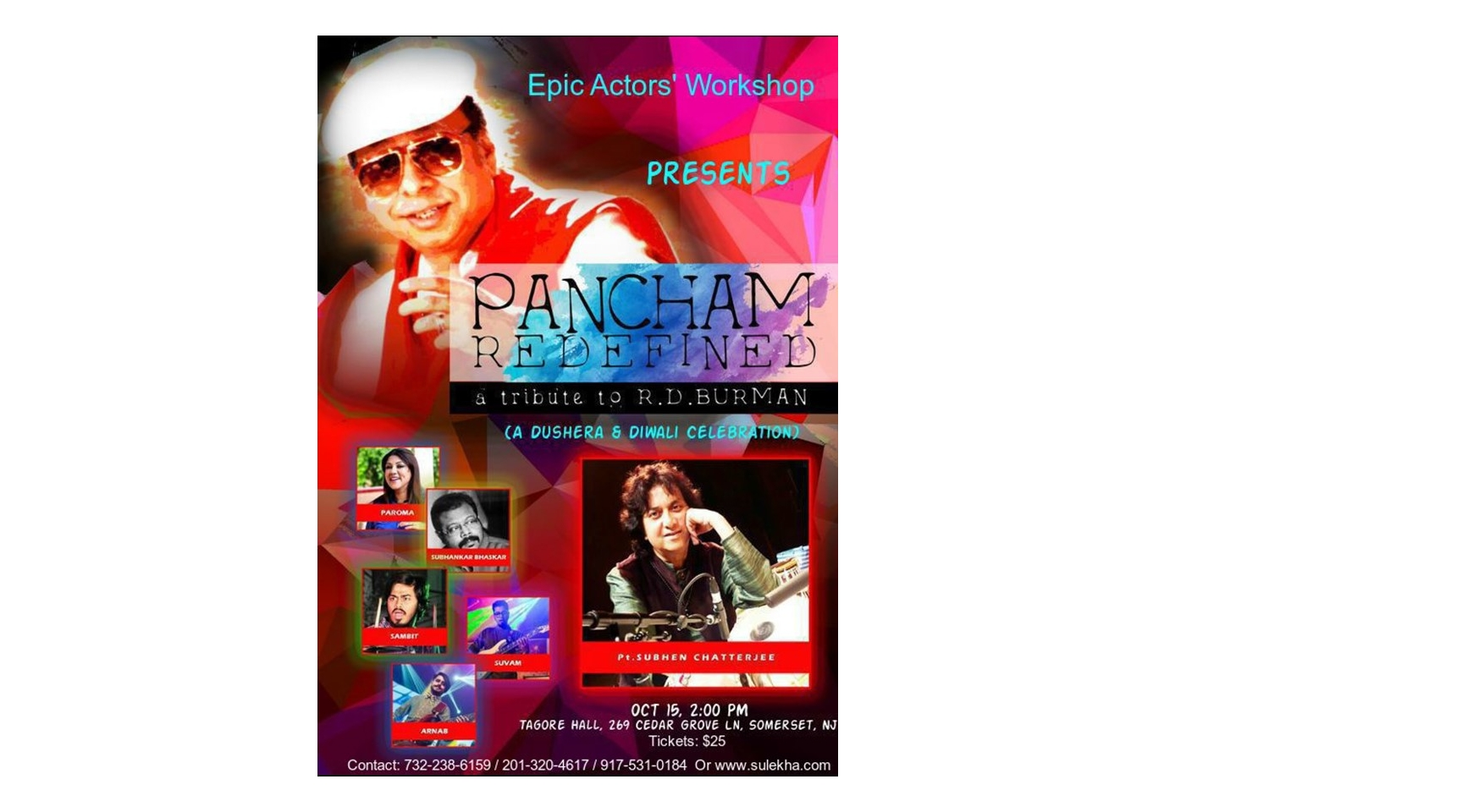 Pancham Redefined - A Tribute to R.D. Burman Buy Tickets Online | Franklin Township , Sun , 2017-10-15 | ThisisShow
