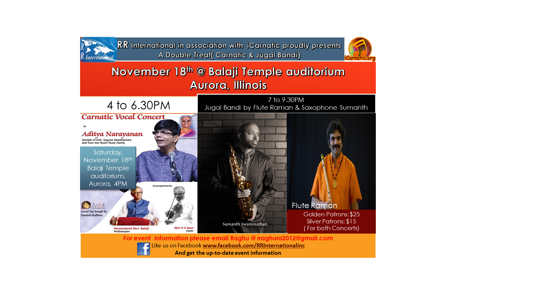 Double treat- Carnatic and Jugal Bandi concerts Buy Tickets Online |  , Sat , 2017-11-18 | ThisisShow